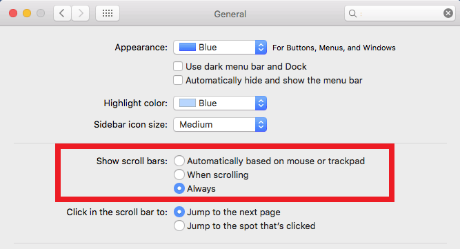 Mac scrollbar setting